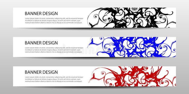 Ensemble de bannières abstraites avec les lignes graphiques Illustration de vecteur illustration de vecteur