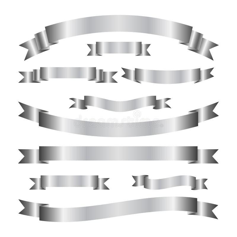 Ensemble de bannières argentées élégantes de ruban Bandes de rouleau Éléments de vecteur illustration libre de droits