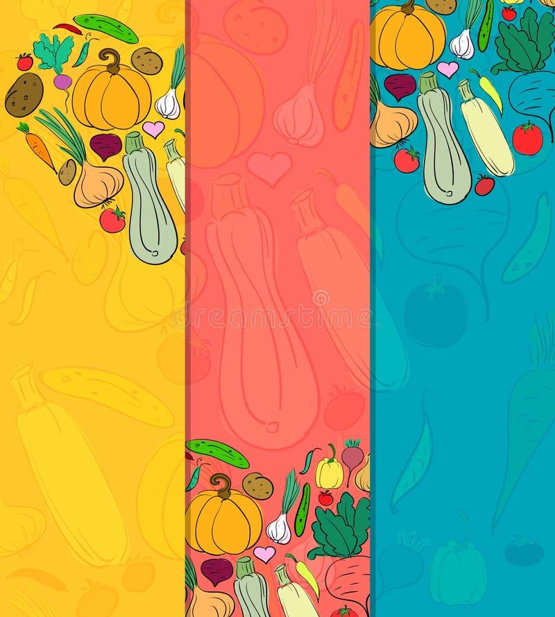Ensemble de bannières avec des légumes avec l'endroit pour votre texte Tiré par la main illustration libre de droits