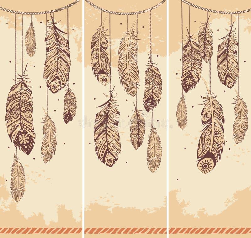 Ensemble de bannières avec des plumes d'Ehnic illustration de vecteur
