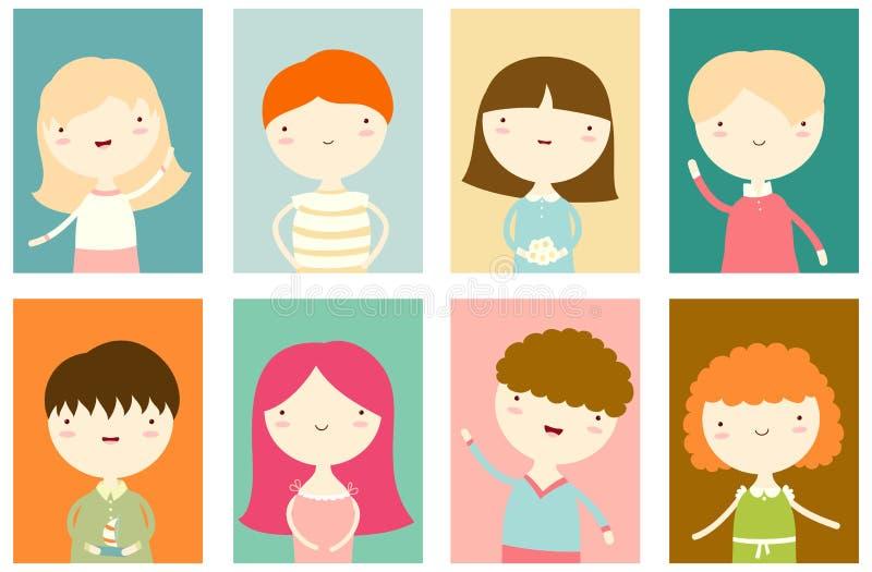 Ensemble de bannières avec les garçons et les filles mignons illustration libre de droits