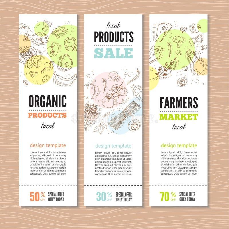 Ensemble de bannières avec les légumes organiques illustration stock