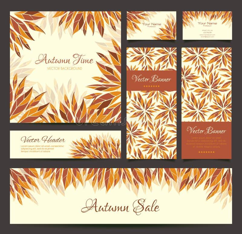 Ensemble de bannières, carte de visite professionnelle de visite, en-têtes avec des feuilles d'automne illustration libre de droits