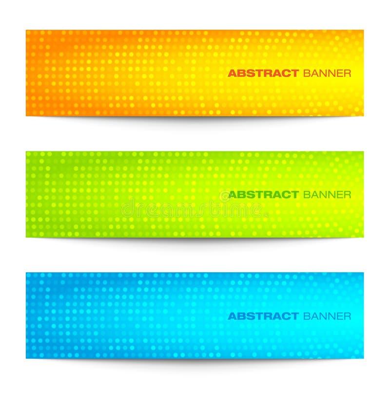 Ensemble de bannières circulaires lumineuses colorées de pixel illustration de vecteur