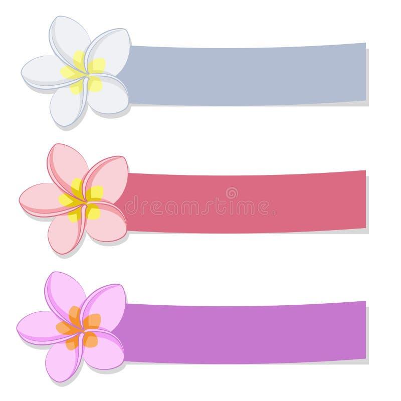 Ensemble de bannières colorées avec des fleurs illustration stock