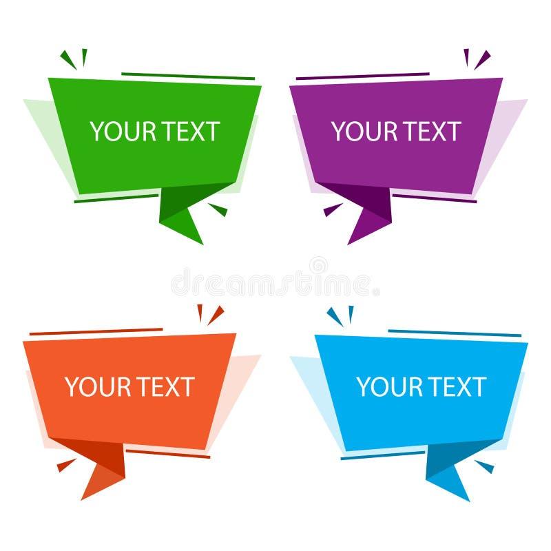 Ensemble de bannières colorées d'origami Zones de texte pour la présentation ou la promotion Illustration de vecteur illustration de vecteur