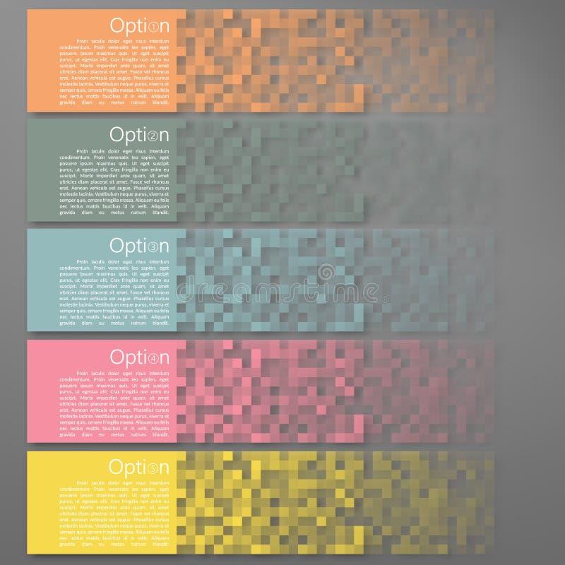 Ensemble de bannières colorées de pixel illustration stock