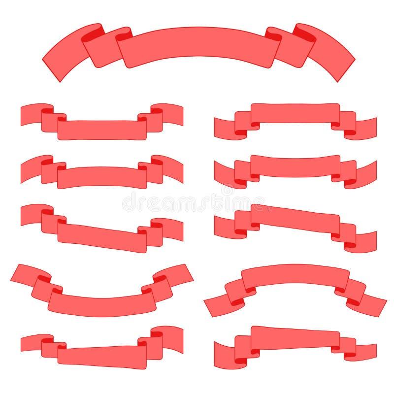 Ensemble de bannières colorées de ruban Avec l'espace pour le texte Illustration plate simple de vecteur d'isolement sur le fond  illustration de vecteur