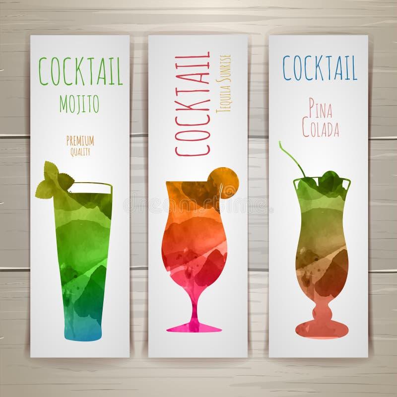 Ensemble de bannières de cocktail d'aquarelle illustration stock