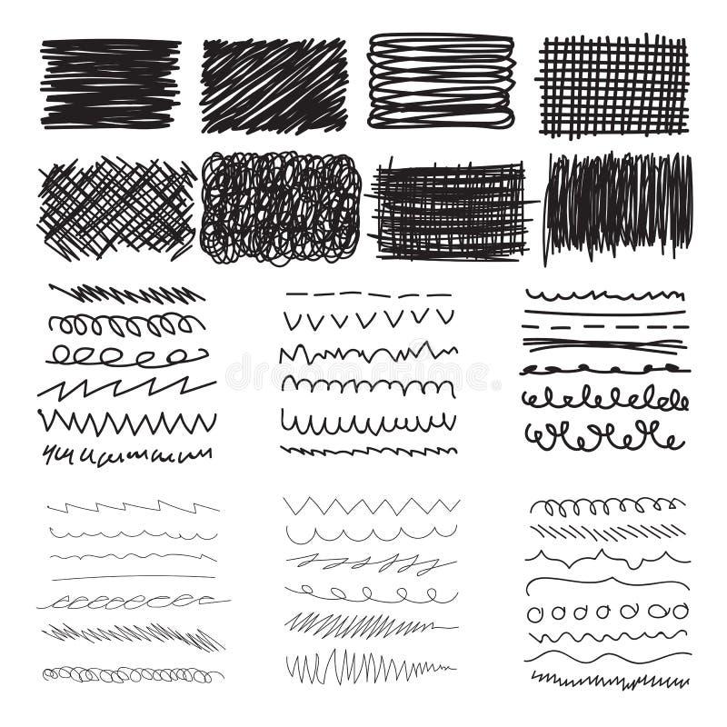 Ensemble de bannières de griffonnage, de courses et de texture tirées par la main d'encre illustration stock