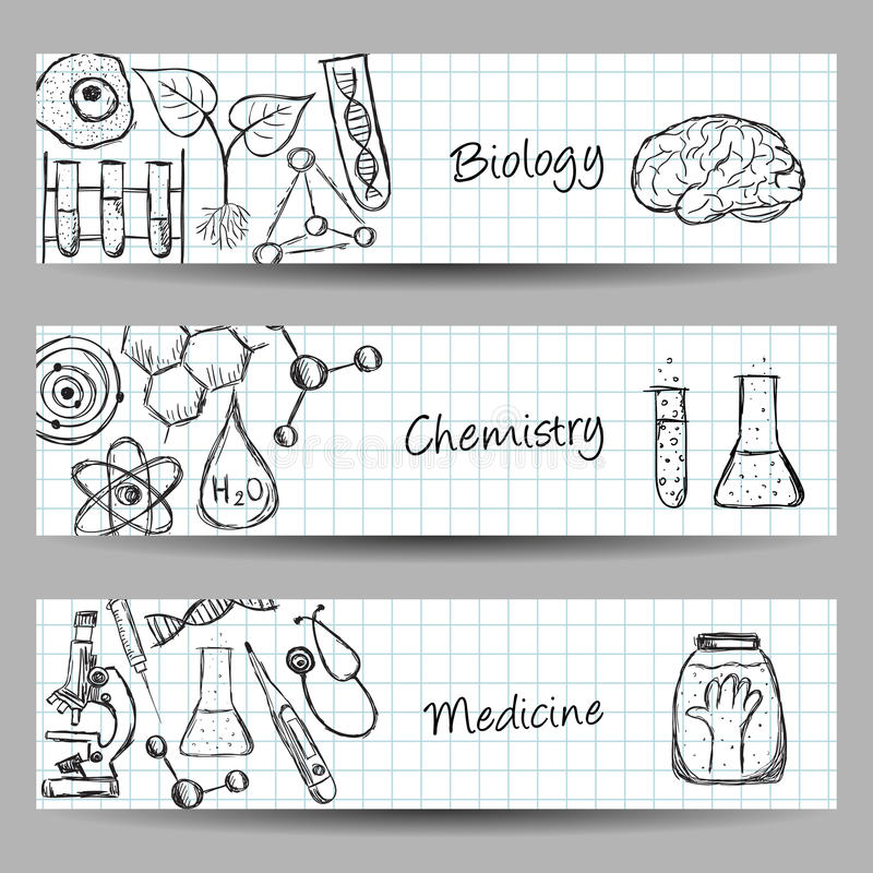 Ensemble de bannières de la Science illustration libre de droits