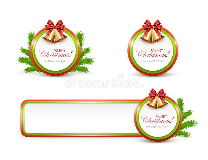 Ensemble de bannières de Noël avec les cloches d'or et l'arc rouge illustration libre de droits