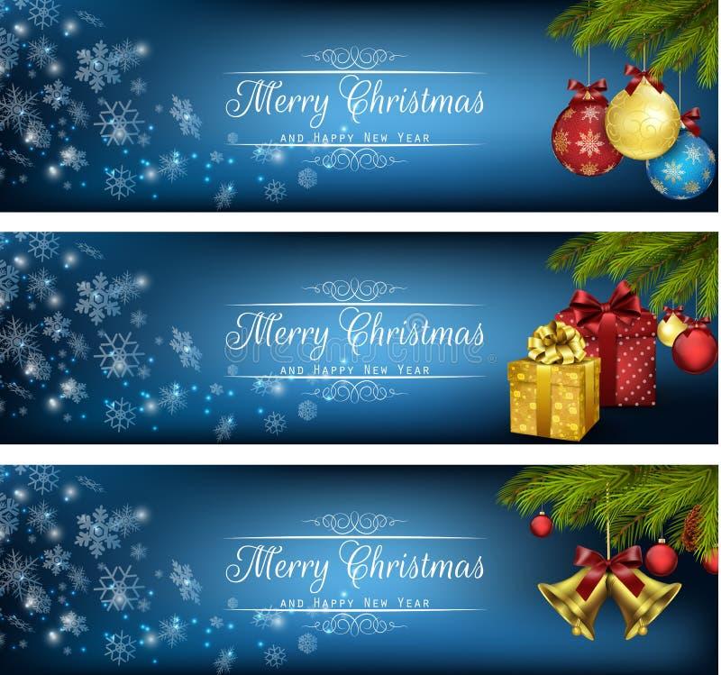 Ensemble de bannières de Noël d'hiver avec des boîte-cadeau, des boules et des cloches illustration stock