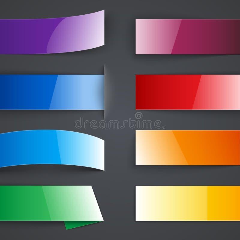 Ensemble de bannières de papier colorées vides avec des ombres illustration libre de droits