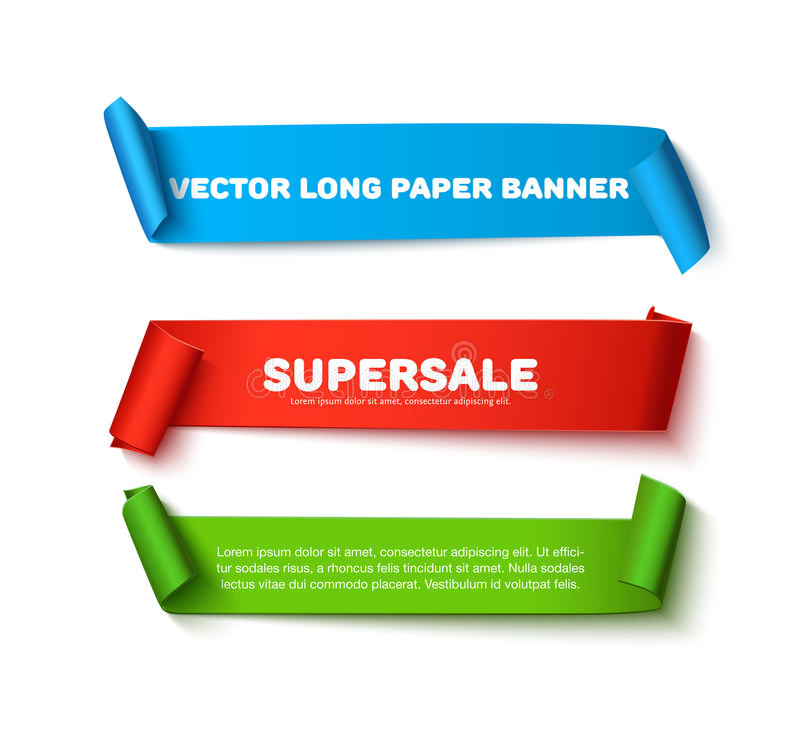 Ensemble de bannières de papier incurvées horizontales colorées de ruban avec des petits pains et d'espace pour le texte d'isolem illustration de vecteur