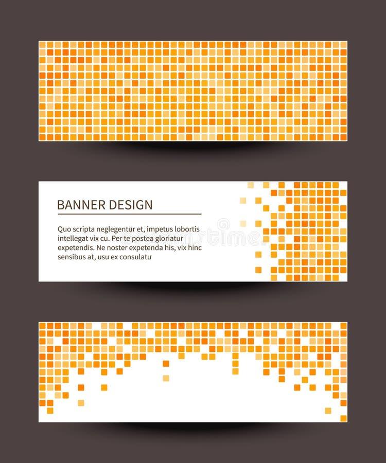 Ensemble de bannières de pixel sur le fond foncé. illustration stock