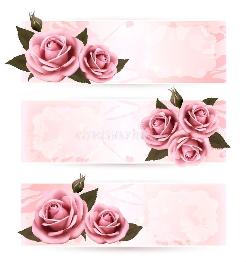 Ensemble de bannières de vacances avec de belles roses roses. illustration de vecteur