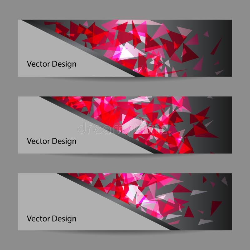 Ensemble de bannières de vecteur avec le fond polygonal illustration stock