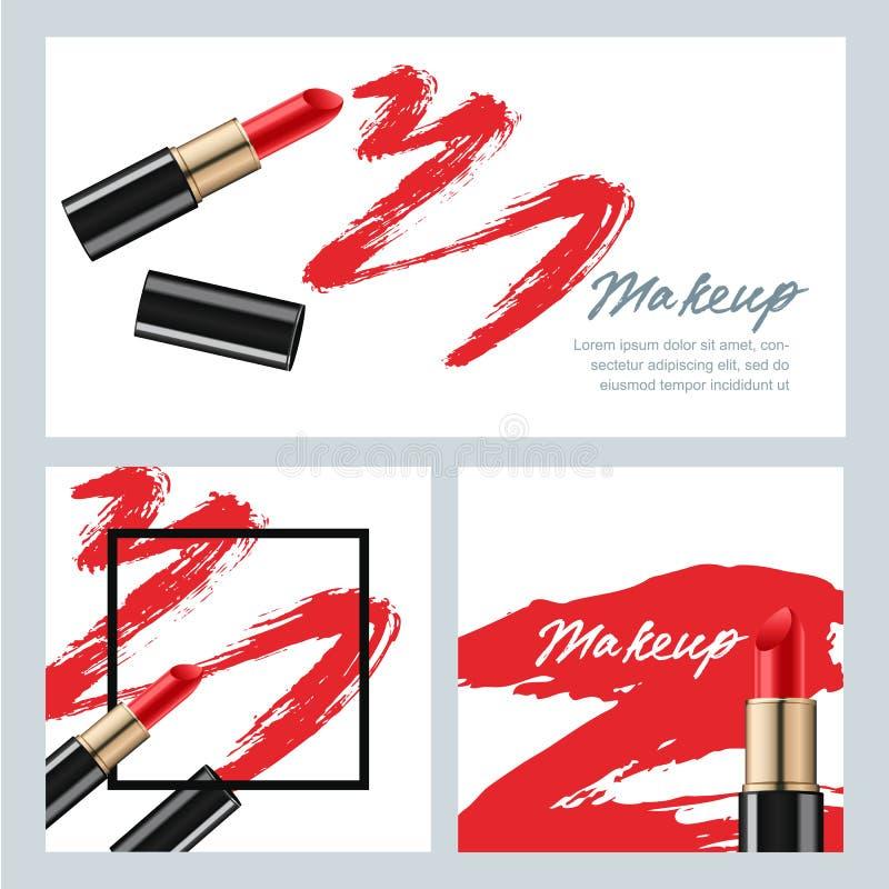 Ensemble de bannières de vecteur avec le rouge à lèvres et les calomnies rouges de rouge à lèvres illustration libre de droits