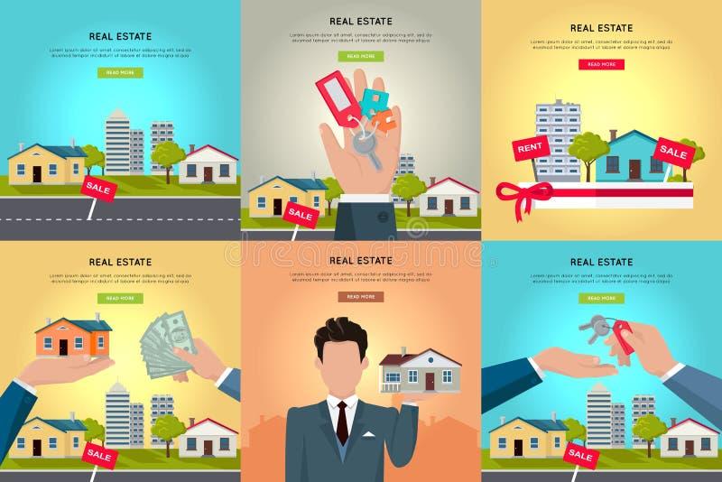 Ensemble de bannières de Web de vecteur de Real Estate illustration stock
