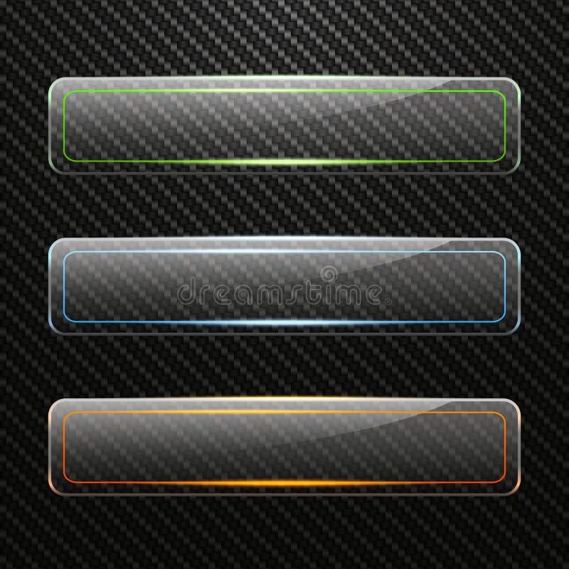 Ensemble de bannières en verre horizontales transparentes avec l'effet de la lumière coloré sur le fond de carbone illustration stock