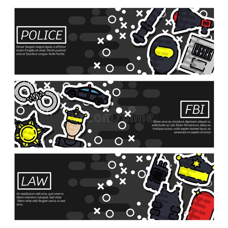 Ensemble de bannières horizontales au sujet de police illustration de vecteur