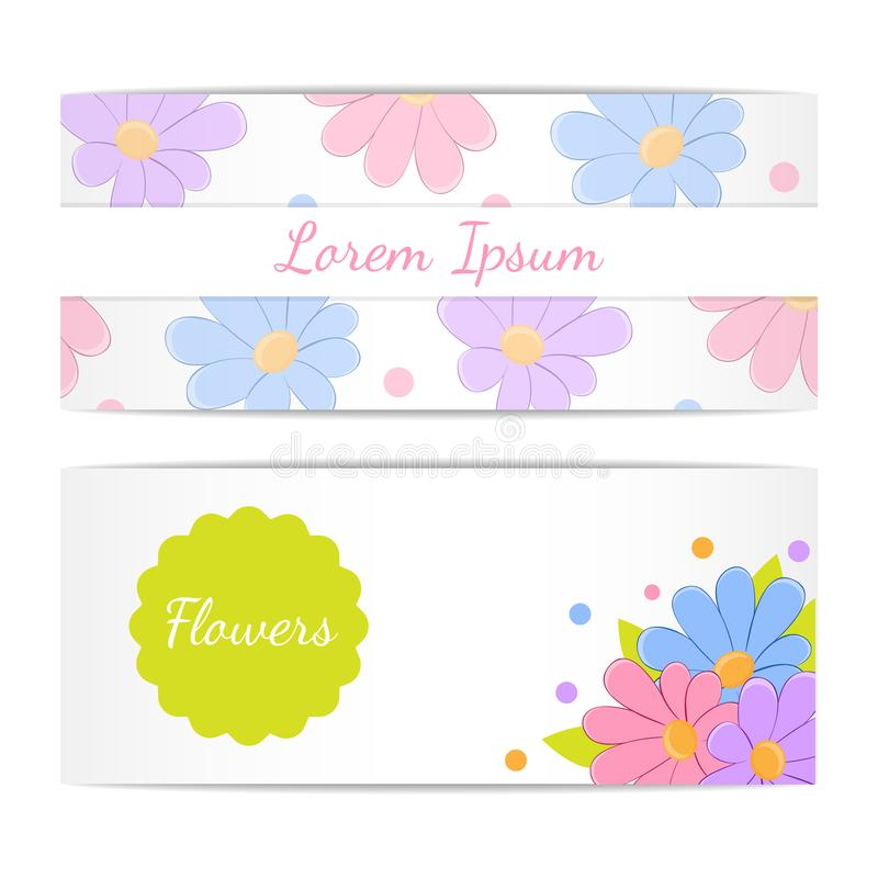 Ensemble de bannières horizontales avec des fleurs illustration stock