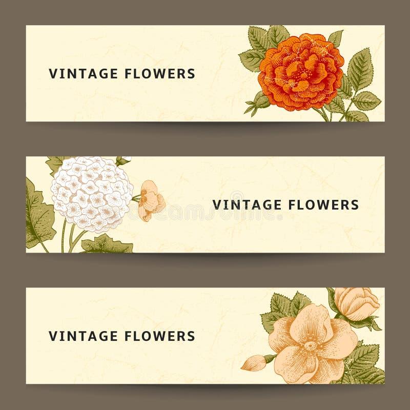 Ensemble de bannières horizontales avec des fleurs de vintage. illustration de vecteur