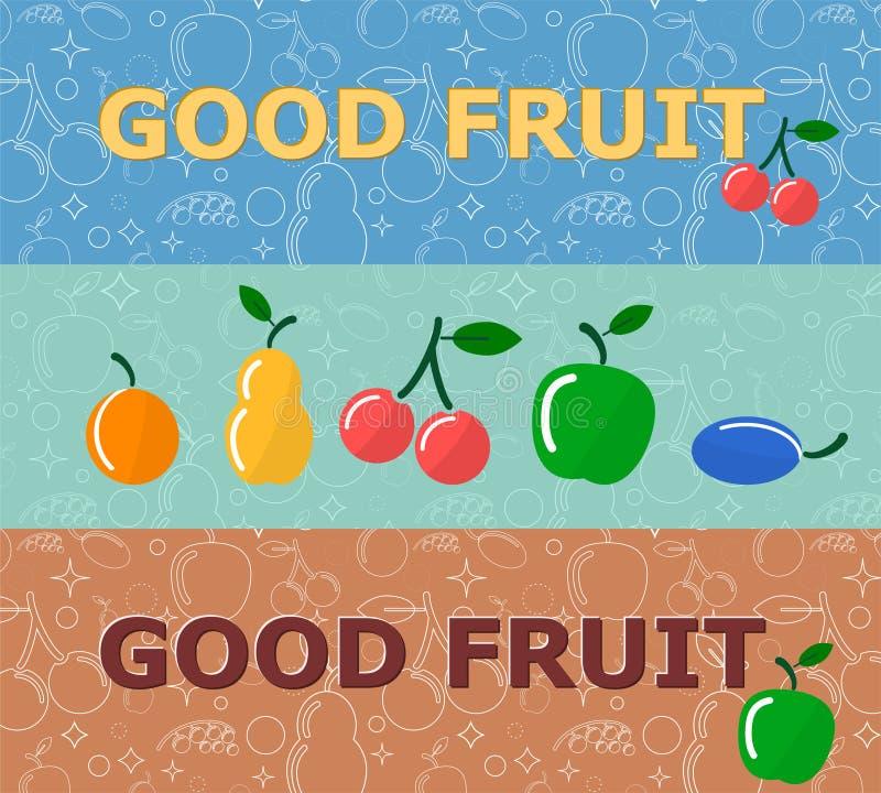 Ensemble de bannières horizontales avec des fruits sur le fond lumineux illustration stock