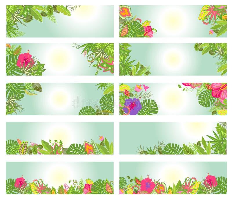 Ensemble de bannières horizontales estivales avec les fleurs tropicales illustration libre de droits