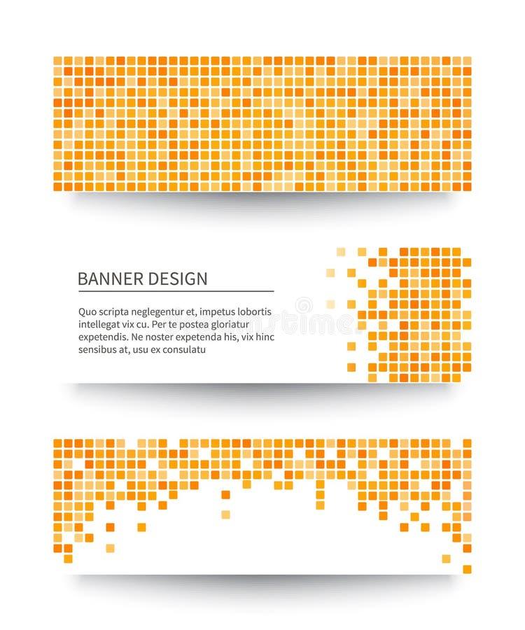 Ensemble de bannières jaunes de pixel. illustration stock