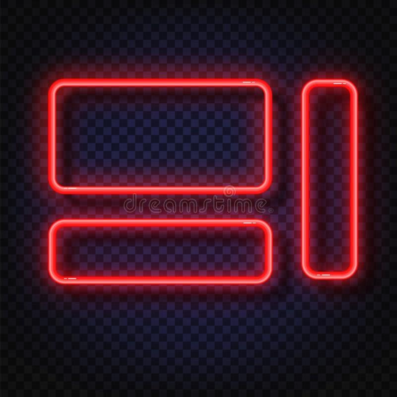 Ensemble de bannières de lampe au néon Signe de cadre de lampe au néon de vecteur Cadres au néon rouges rougeoyants réalistes d'i illustration de vecteur