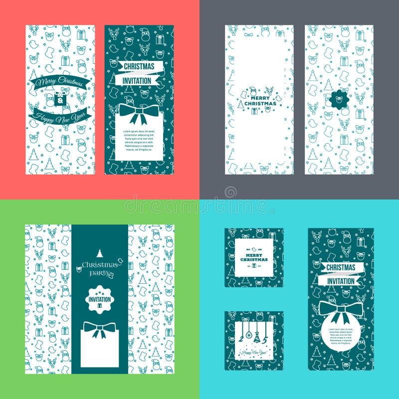 Ensemble de bannières latérales de la verticale 2 de Joyeux Noël avec le modèle sur le fond de colorfull Carte de voeux de nouvel photographie stock libre de droits