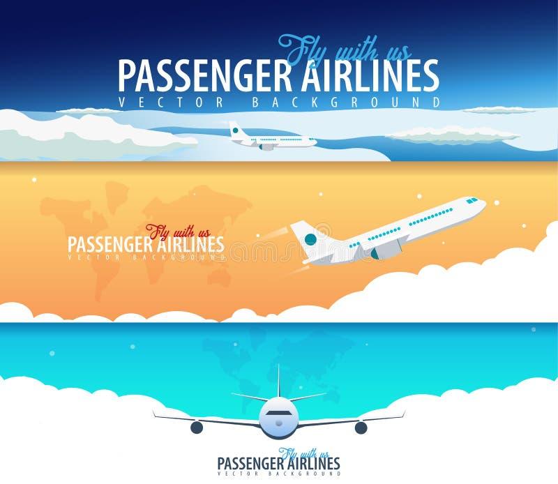 Ensemble de bannières de lignes aériennes de passager Opacifie le fond de ciel avec l'avion Illustration de vecteur illustration stock