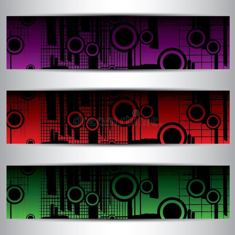 Ensemble de bannières lumineuses illustration stock