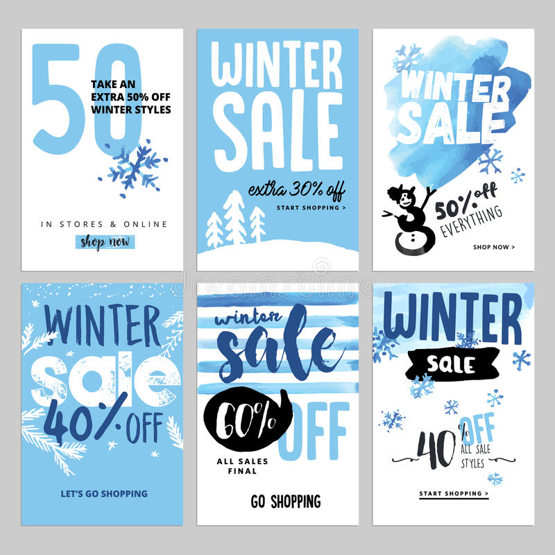 Ensemble de bannières mobiles de vente d'hiver illustration libre de droits
