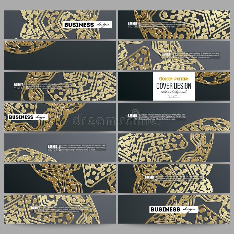 Ensemble de bannières modernes Modèle d'or de puce sur le fond foncé avec les points et les lignes se reliants, structure de conn illustration de vecteur