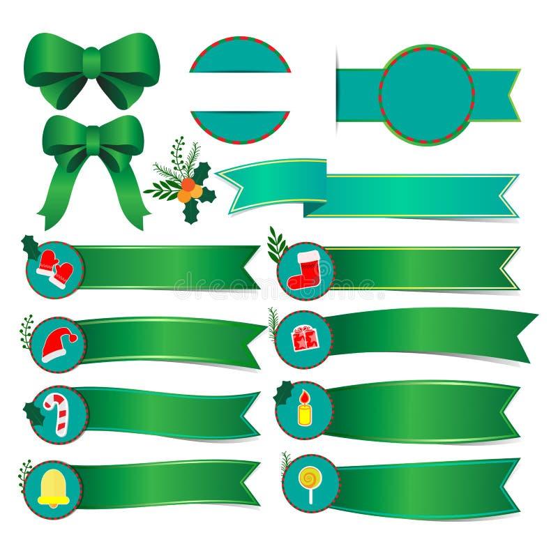 Ensemble de bannières de Noël avec le ruban vert illustration de vecteur