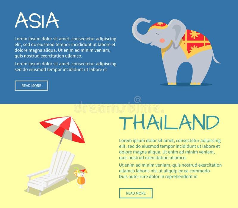 Ensemble de bannières plates de Web de vecteur de l'Asie et de la Thaïlande illustration de vecteur