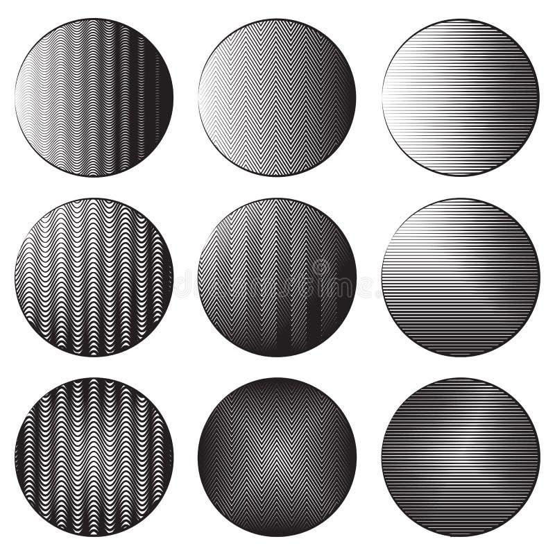 Ensemble de bannières rondes avec l'ombrage de gravure Différents types de hachure illustration stock
