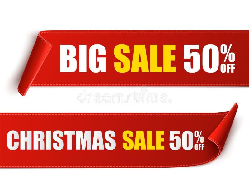 Ensemble de bannières rouges de Noël Empaquetez les défilements Autocollants de vente de Noël de vecteur illustration libre de droits