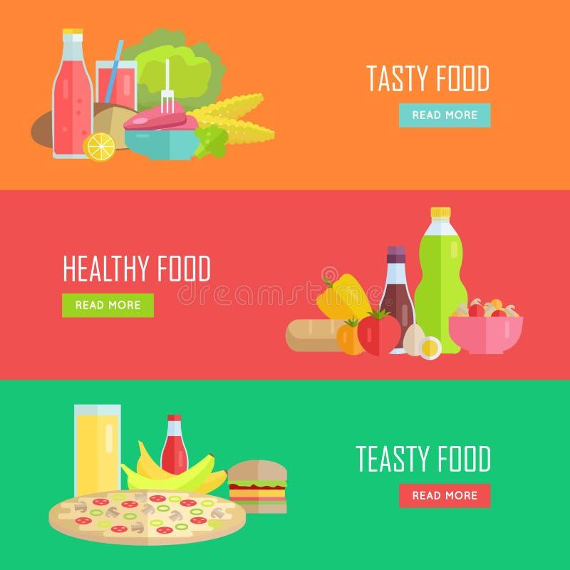 Ensemble de bannières savoureuses et saines de Web de vecteur de nourriture illustration libre de droits