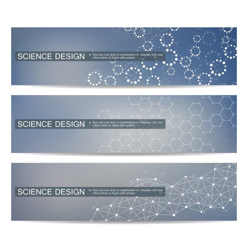 Ensemble de bannières scientifiques modernes ADN de structure de molécule et neurones illustration stock