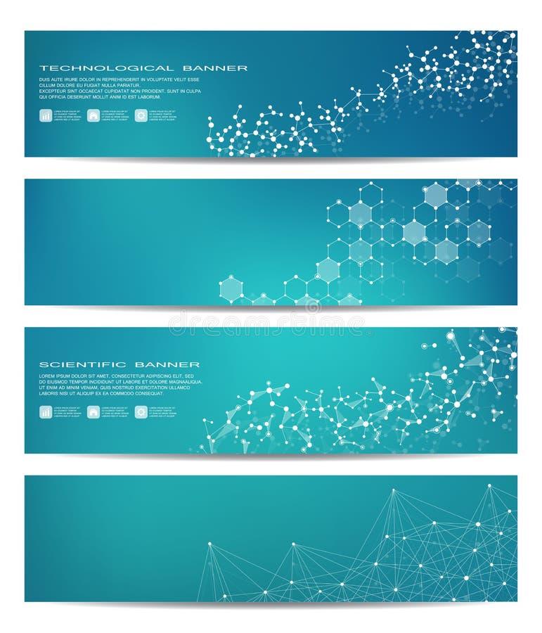 Ensemble de bannières scientifiques modernes ADN de structure de molécule et neurones abrégez le fond Médecine, la science, techn illustration libre de droits