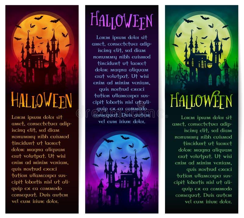 Ensemble de bannières verticales de Halloween de vecteur avec la grands lune, château de fantôme et silhouettes de battes sur le  illustration libre de droits