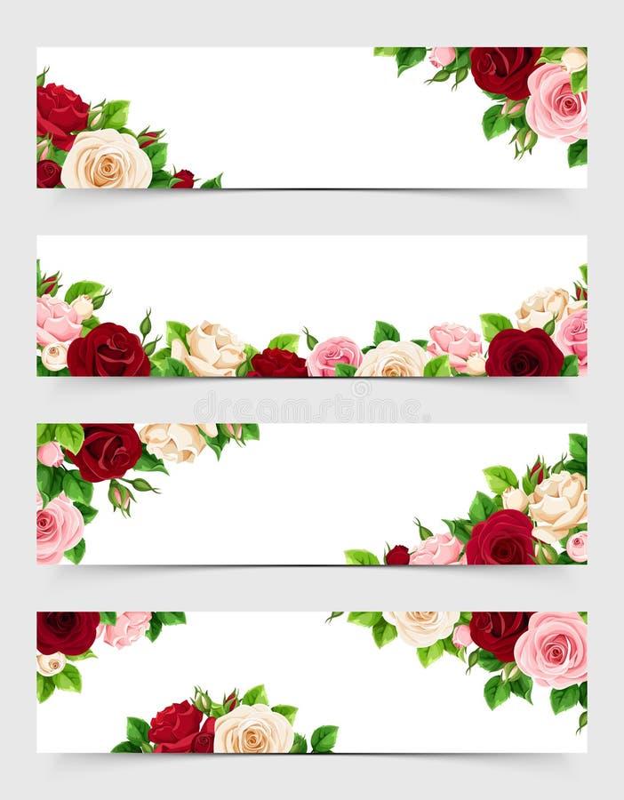 Ensemble de bannières de Web avec le rose, le Bourgogne et les roses blanches Illustration de vecteur illustration stock