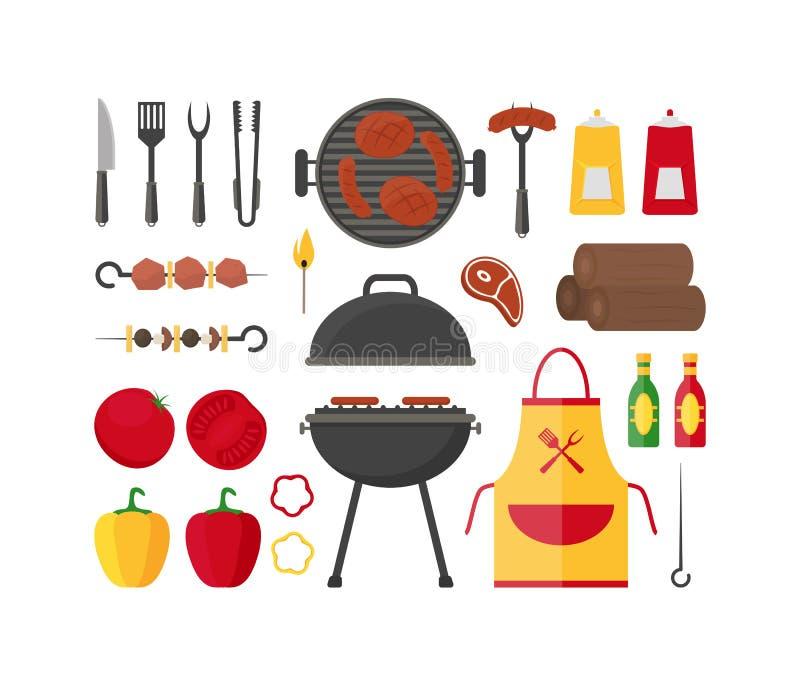 Ensemble de barbecue et de gril Vecteur illustration stock