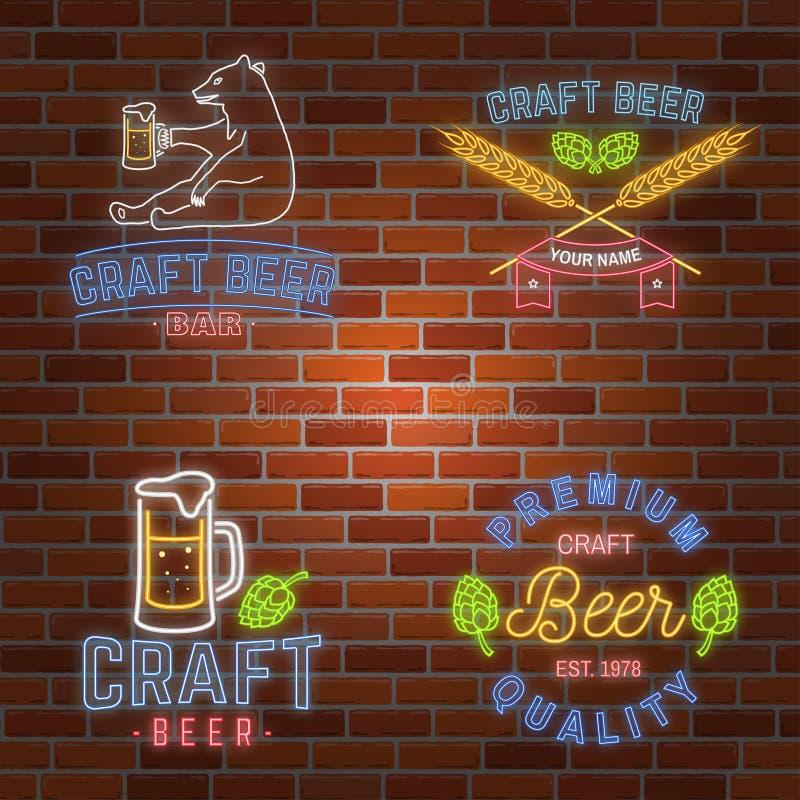 Ensemble de barre au néon de bière de métier d'enseigne illustration stock