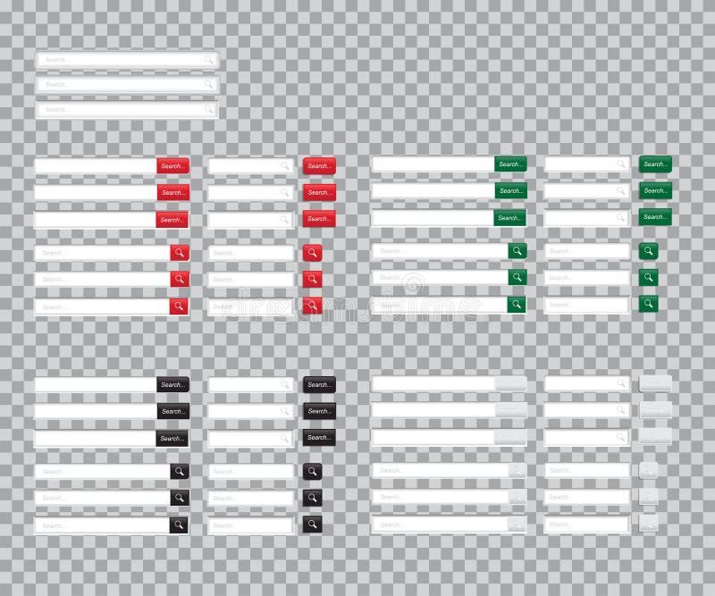 Ensemble de barres de recherche d'isolement sur le fond transparent Calibre de vecteur pour la recherche d'Internet interface Web illustration de vecteur
