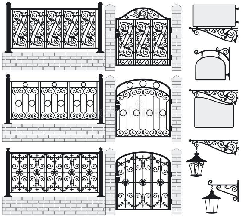 Ensemble de barrières travaillées de fer, portes, enseignes, LAN illustration libre de droits